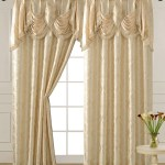 Luxury Jacquard Curtain Panel With Attached Waterfall Valance 54 By 84 Inch Ashley Beige 1 Panel Walmart Com Walmart Com