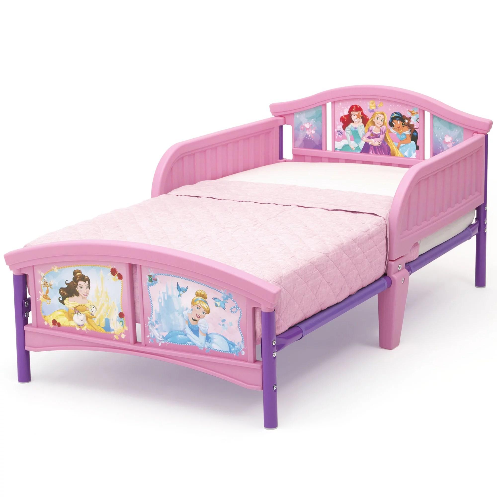 disney princess plastic toddler bed by delta children forever princess mattress not included walmart com