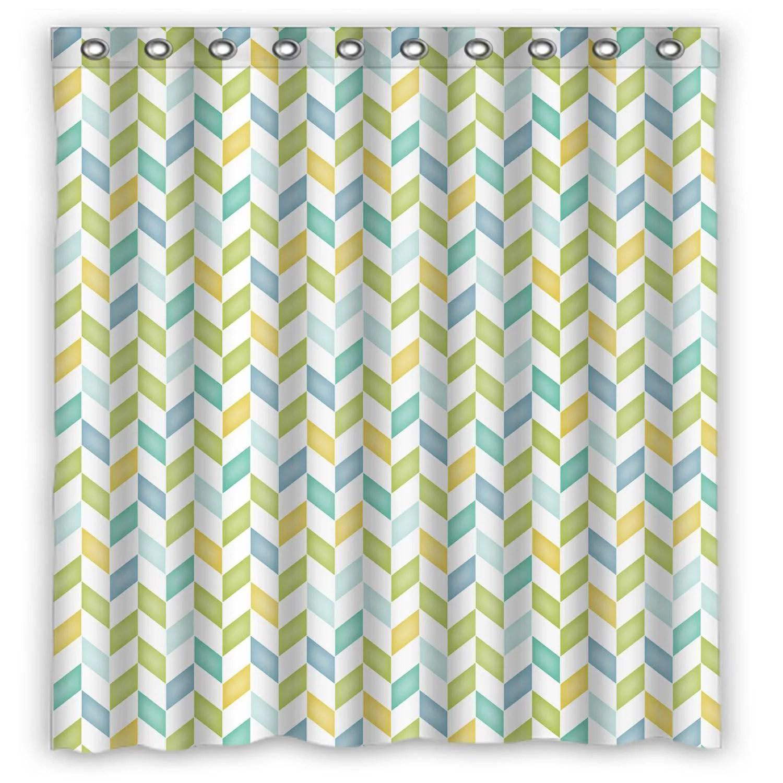 eczjnt blue green yellow teal chevron shower curtain bathroom waterproof home decor 66x72 inch