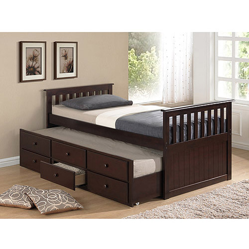 broyhill kids marco island twin captains bed with trundle and storage drawer espresso