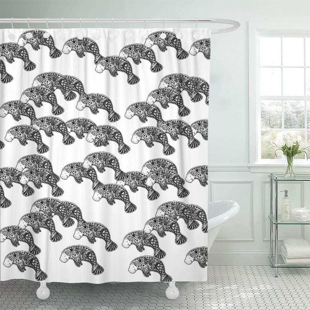 cynlon blue herd of manatee ocean florida black white bathroom decor bath shower curtain 66x72 inch