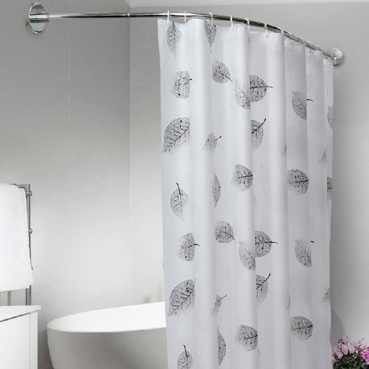 extendable corner curved shower curtain rod pole adjustable 40 64 inch no punching rail rod shower curtain and glue are not included