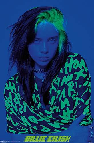 trends international billie eilish blue wall poster 22 375 x 34 unframed version