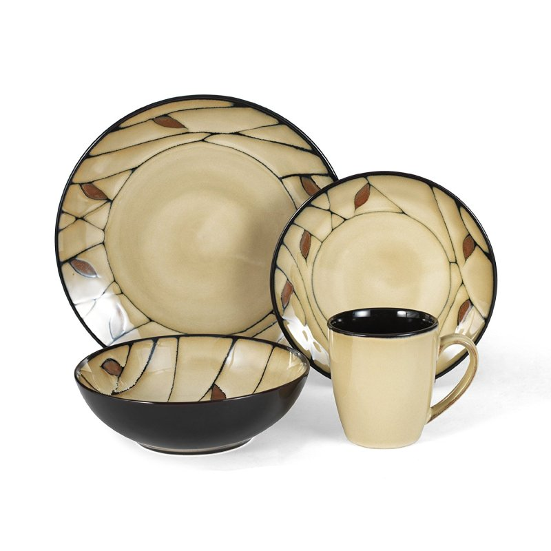 Briar 16-Piece Round Stoneware Dinnerware Set, This 16-piece dinnerware service for four includes 4 each: 11-inch dinner plate, 8-1/2-inch salad plate, 6-inch soup.., By Pfaltzgraff