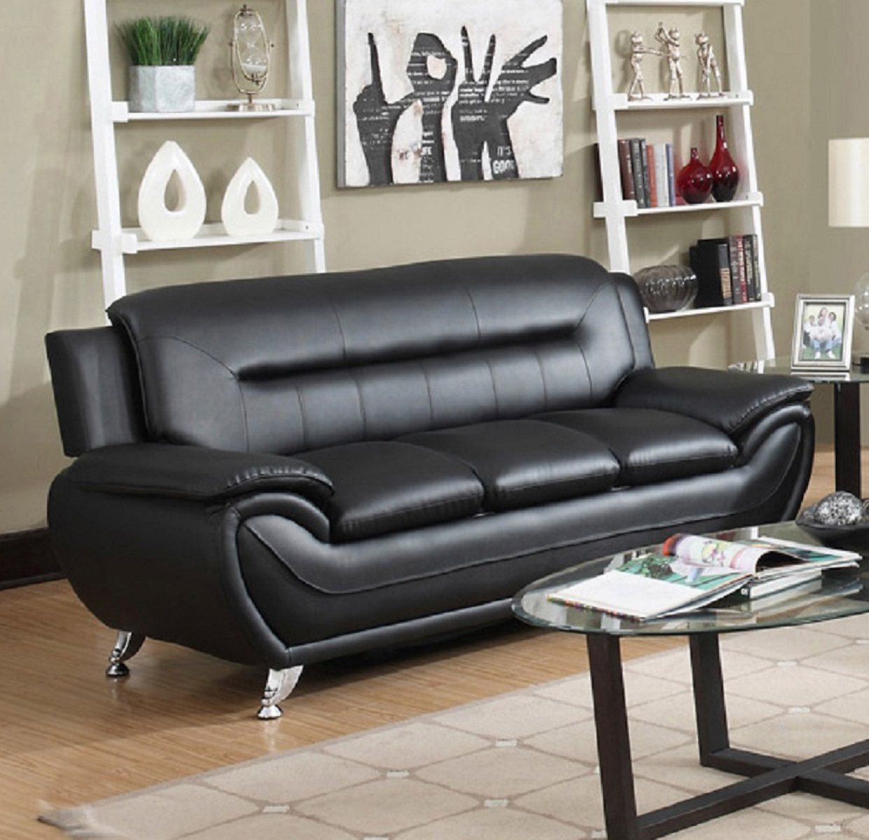 viscologic paradise pillow top premium faux leather sofa couch for home office living room black