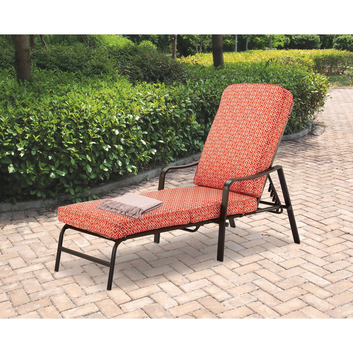 mainstays outdoor patio chaise lounge with adjustable back orange geo pattern walmart com