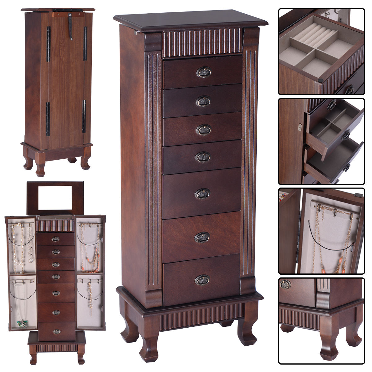 Jewelry Armoire With Beige Lining  Mirror and Swing Out Doors  Black     Jewelry Armoire With Beige Lining  Mirror and Swing Out Doors  Black    Walmart com