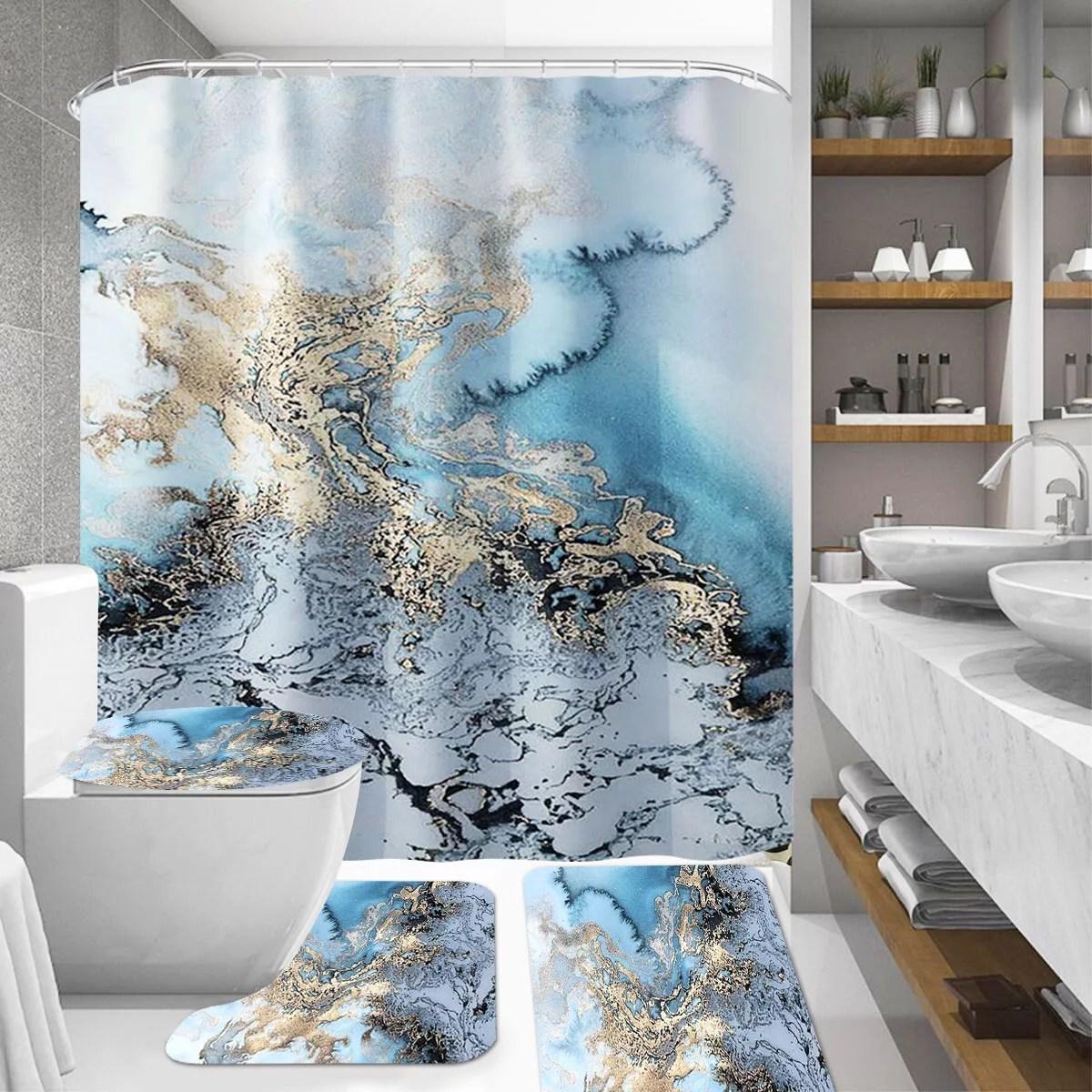 4pcs shower curtain set bathroom decor morden style bright luxury concise include shower curtain non slip base pad lid toilet cover mat bathroom mat