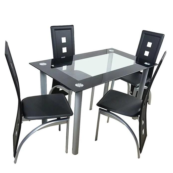 Ubesgoo 5 Piece Glass Black Dining Table Set 4 Chairs Room Kitchen Breakfast Furniture Walmart Com Walmart Com