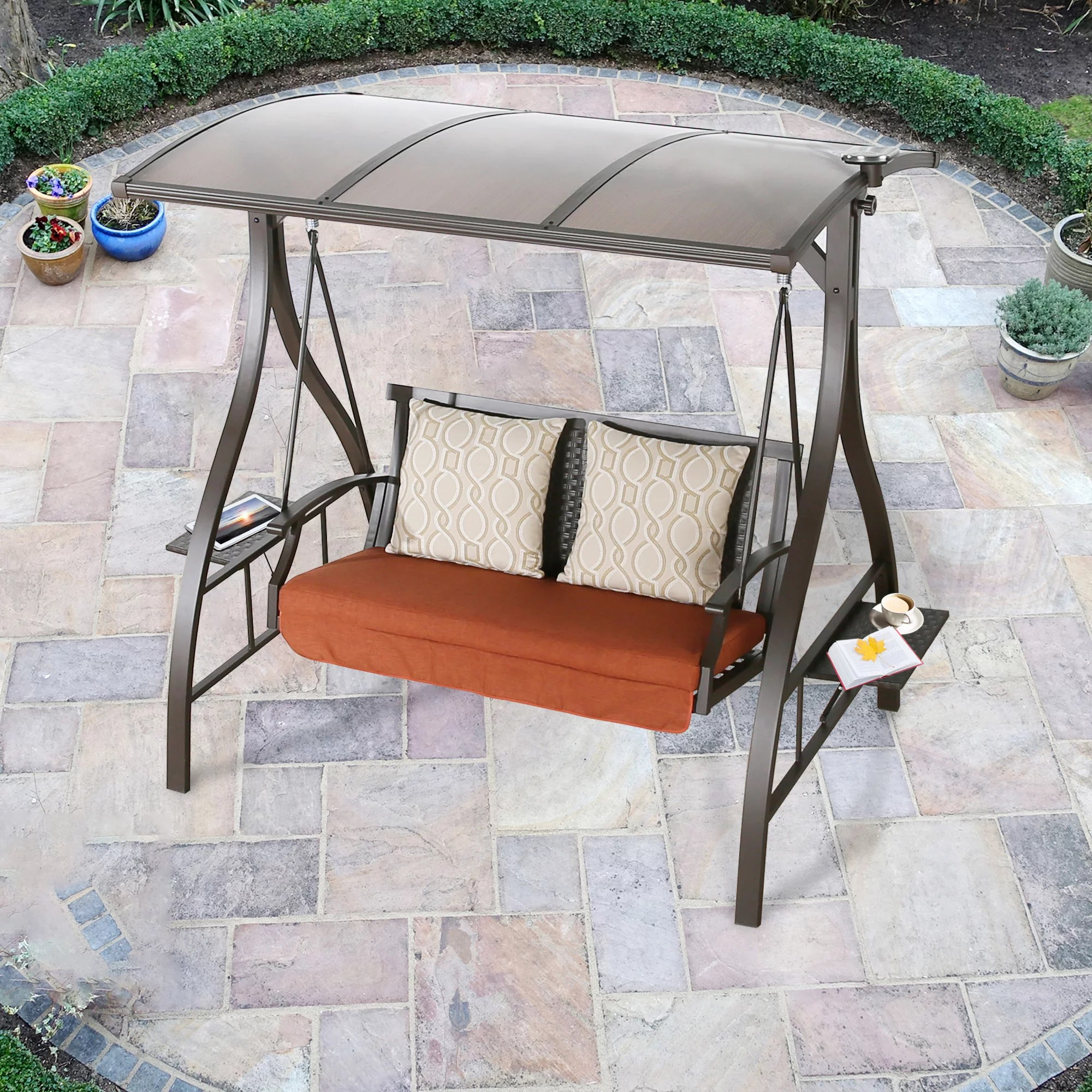 ulax furniture 2 seat outdoor large hardtop canopy porch swing chair with sunbrella cushions patio swing glider hammock lounge bench chair with solar
