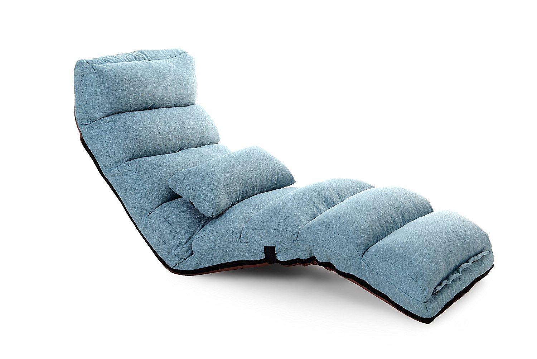 funkatron relaxing folding sofa chaise lounge futon chair and lounge blue