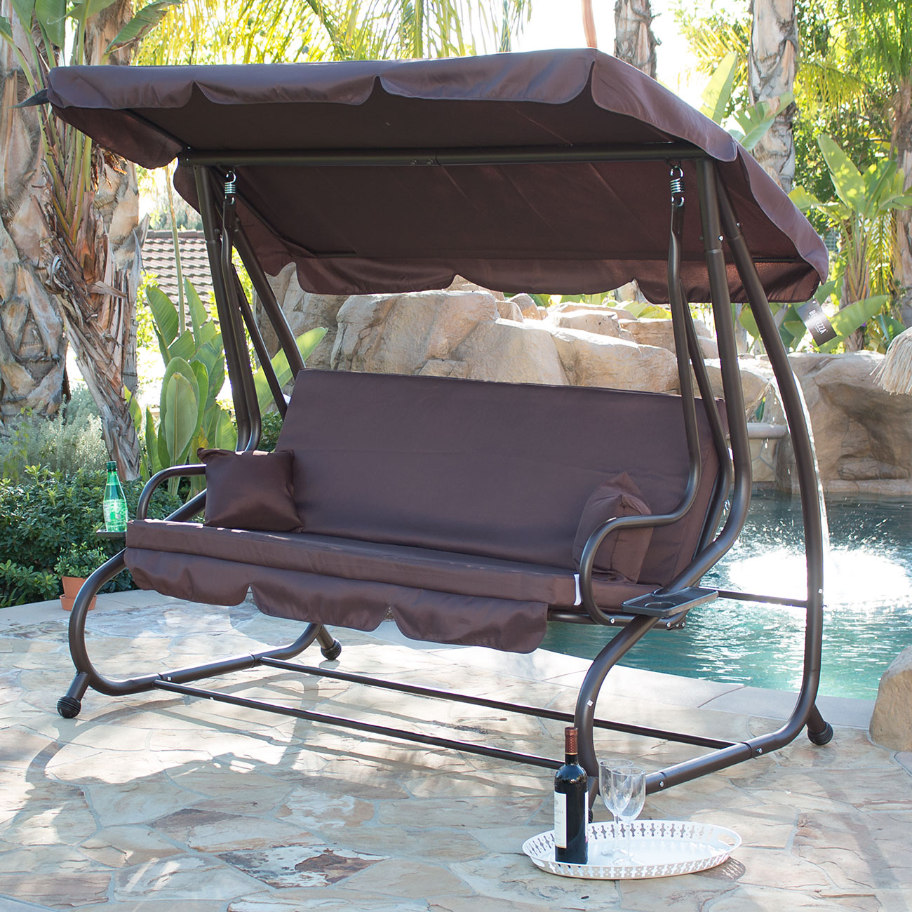 belleze outdoor canopy porch swing bed hammock tilt canopy with steel frame
