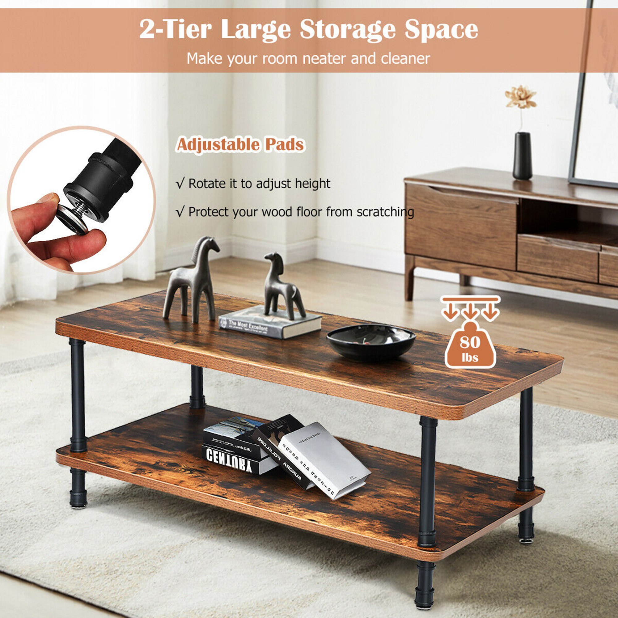 gymax industrial coffee table rustic accent table storage shelf living room furniture