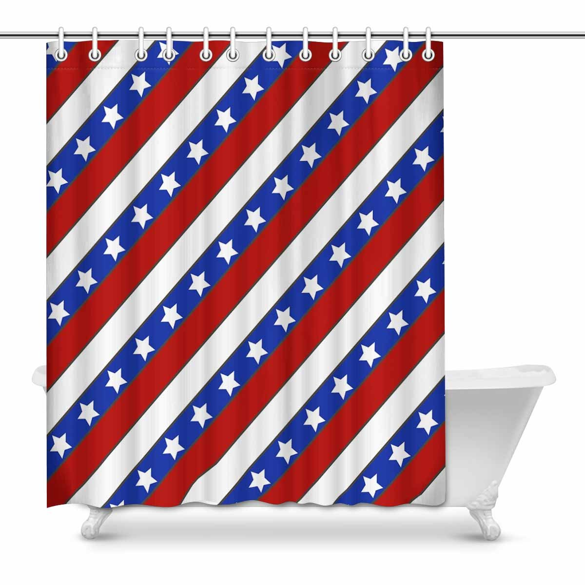 Pop America Flag Red White And Blue Striped Bathroom Shower