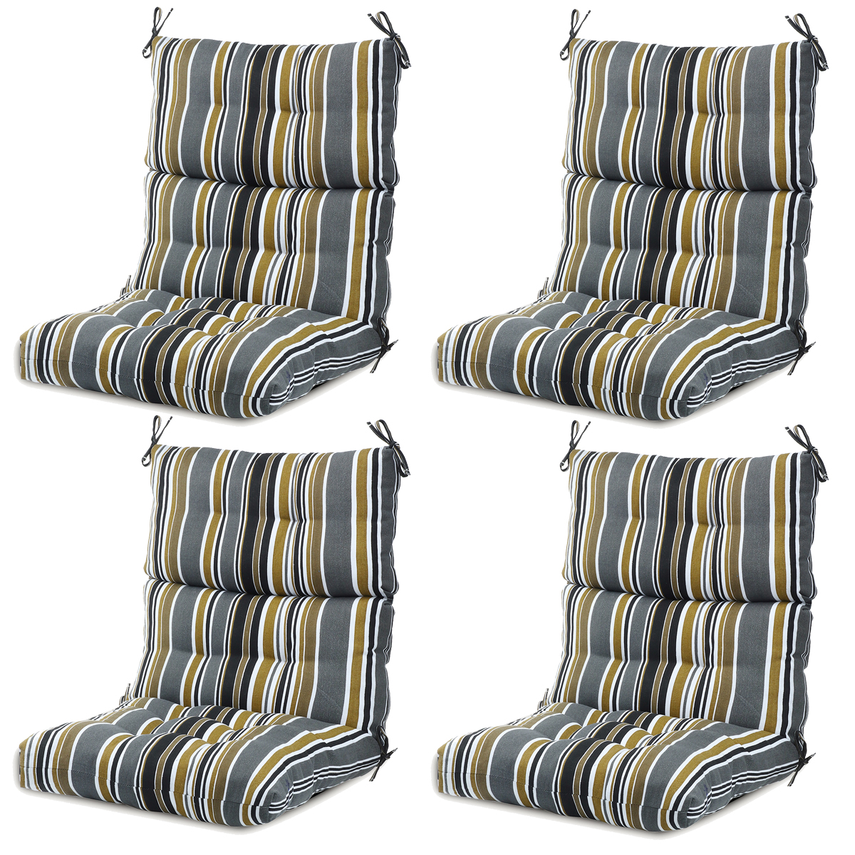 romhouse set of 4 solid high rebound foam chair cushion for outdoor patio garden home 44x21 inches