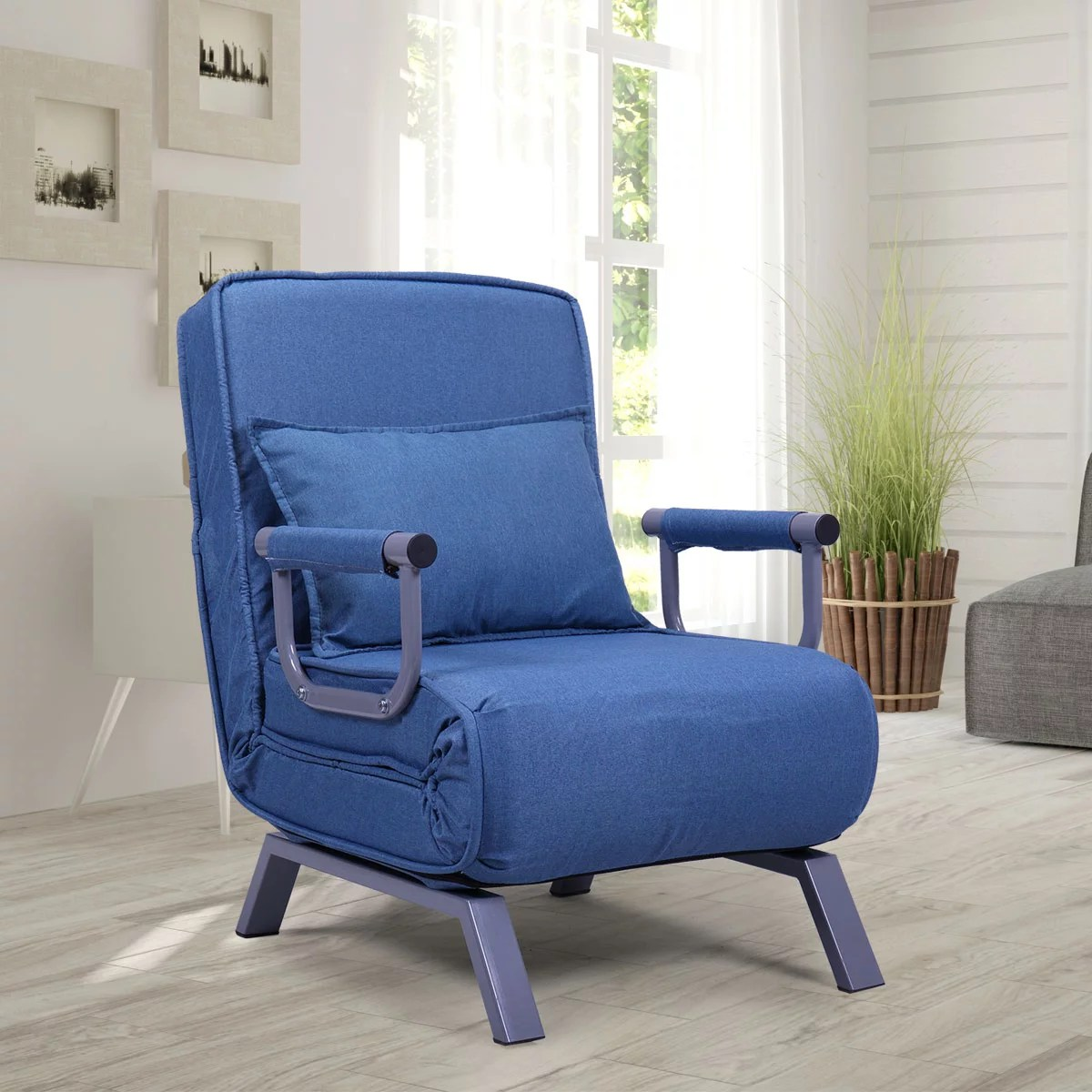 jaxpety fabric folding chaise lounge convertible single sleeper sofa chair with armrest and pillow blue
