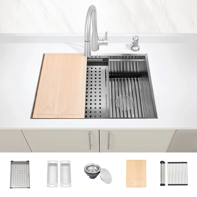 zuhne undermount workstation ledge 16 gauge stainless kitchen sink accessories 28 inch left right offset drain walmart com