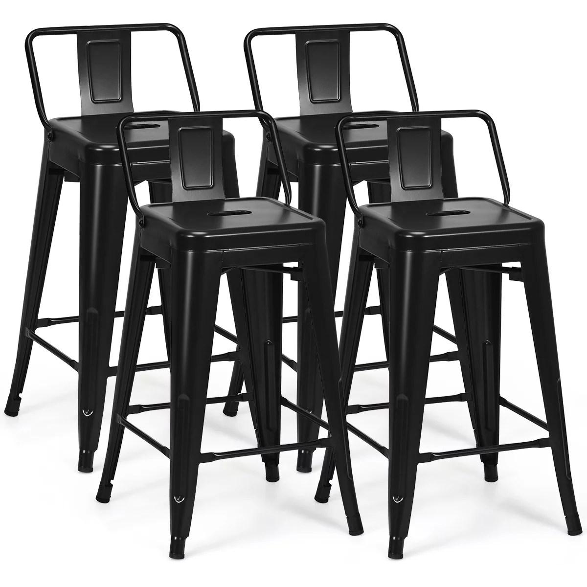 Costway Set Of 4 Low Back Metal Counter Stool 24 Seat Height Bar Stools Matte Black Walmart Canada