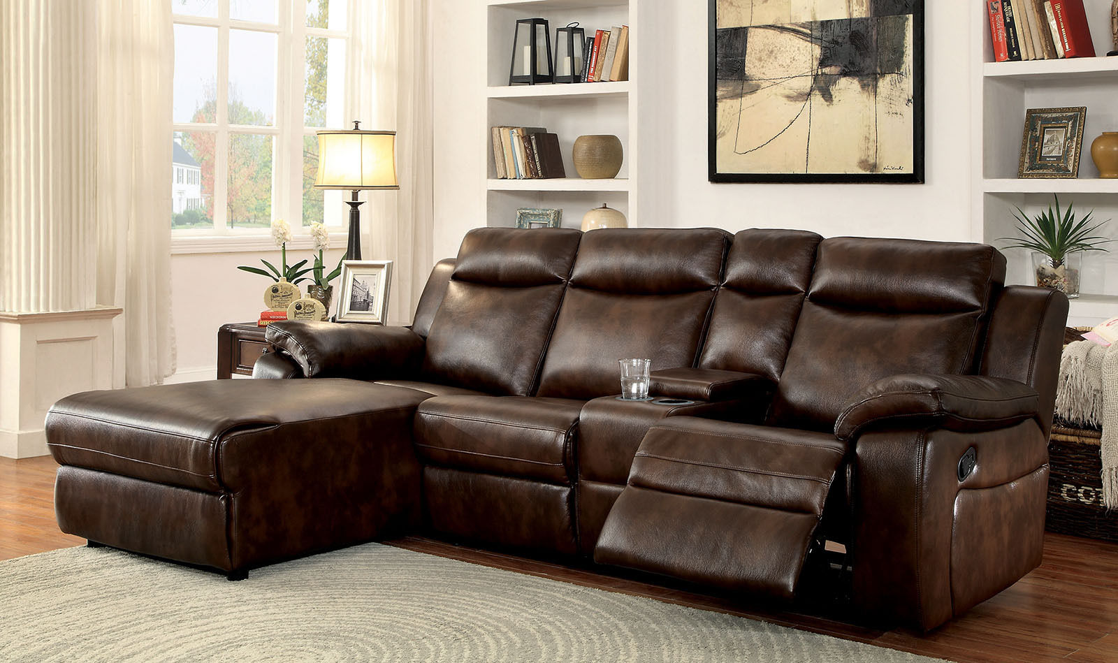 sectional sofa console recliner modern brown leatherette plush cushion arms small corner sectional living room