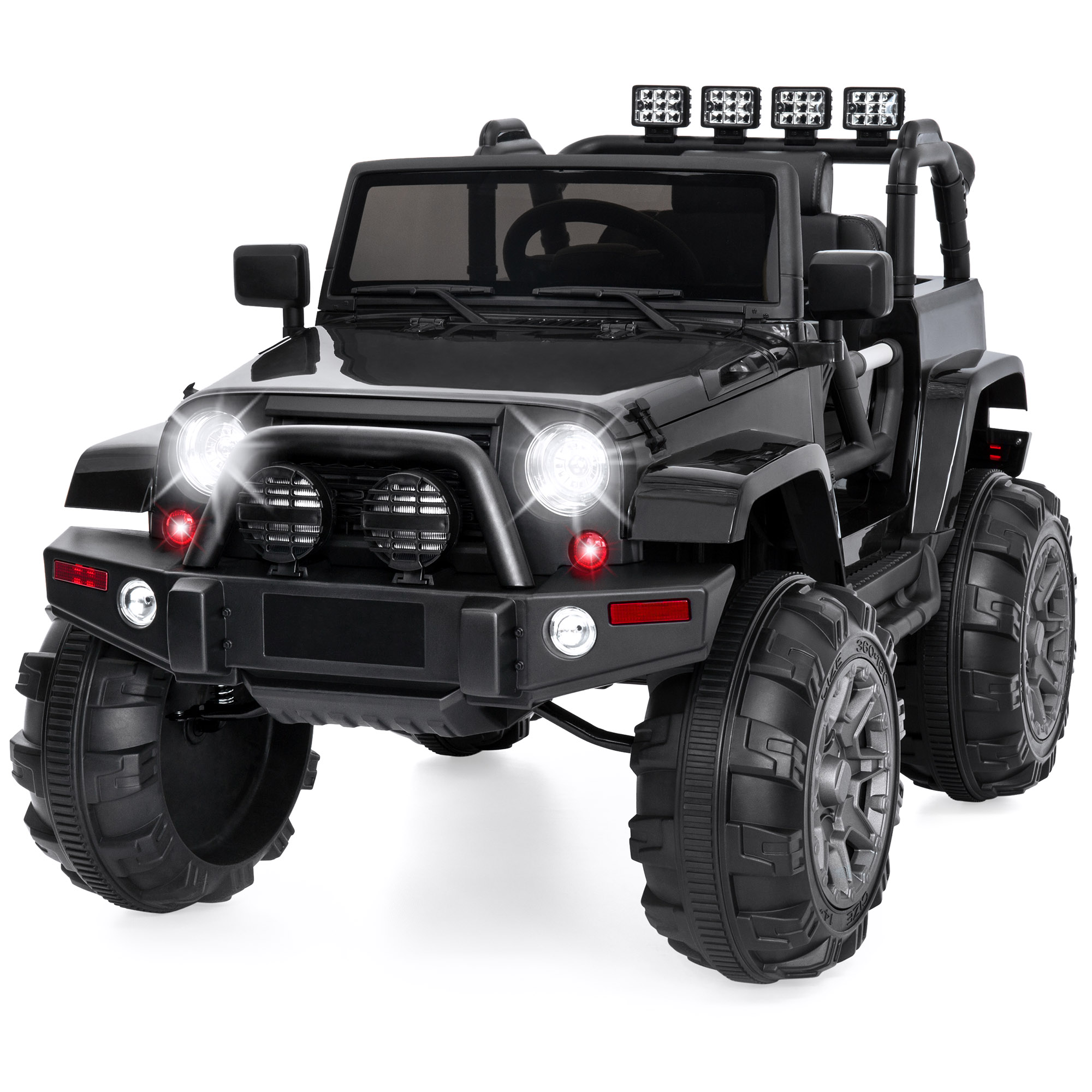Best Choice Products 12V Kids Ride On Truck Car w/ Remote Control, 3 Speeds, Spring Suspension, LED Lights, AUX – Black