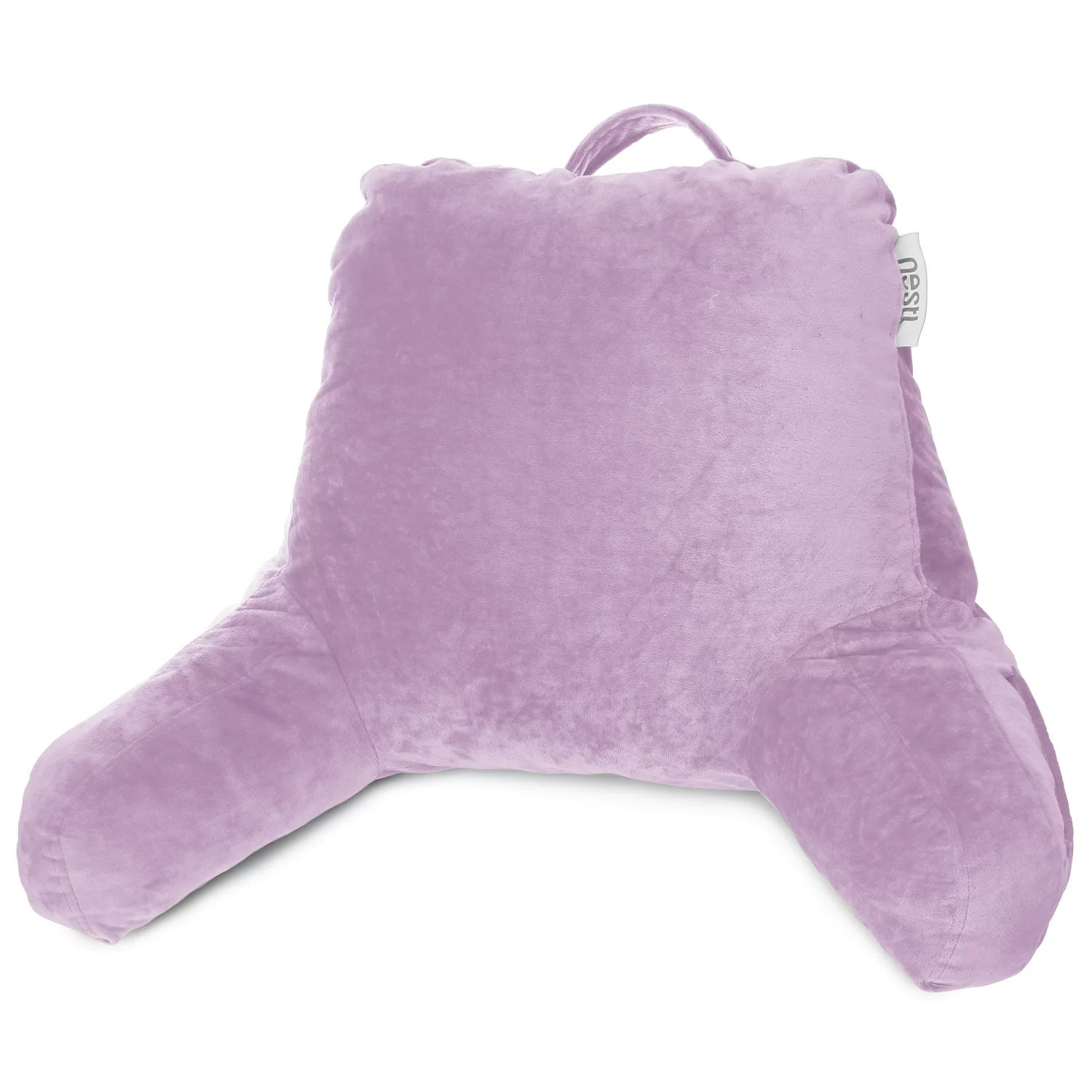nestl reading pillow medium bed rest pillow with arms for kids teens adults premium shredded memory foam tv pillow lavender purple