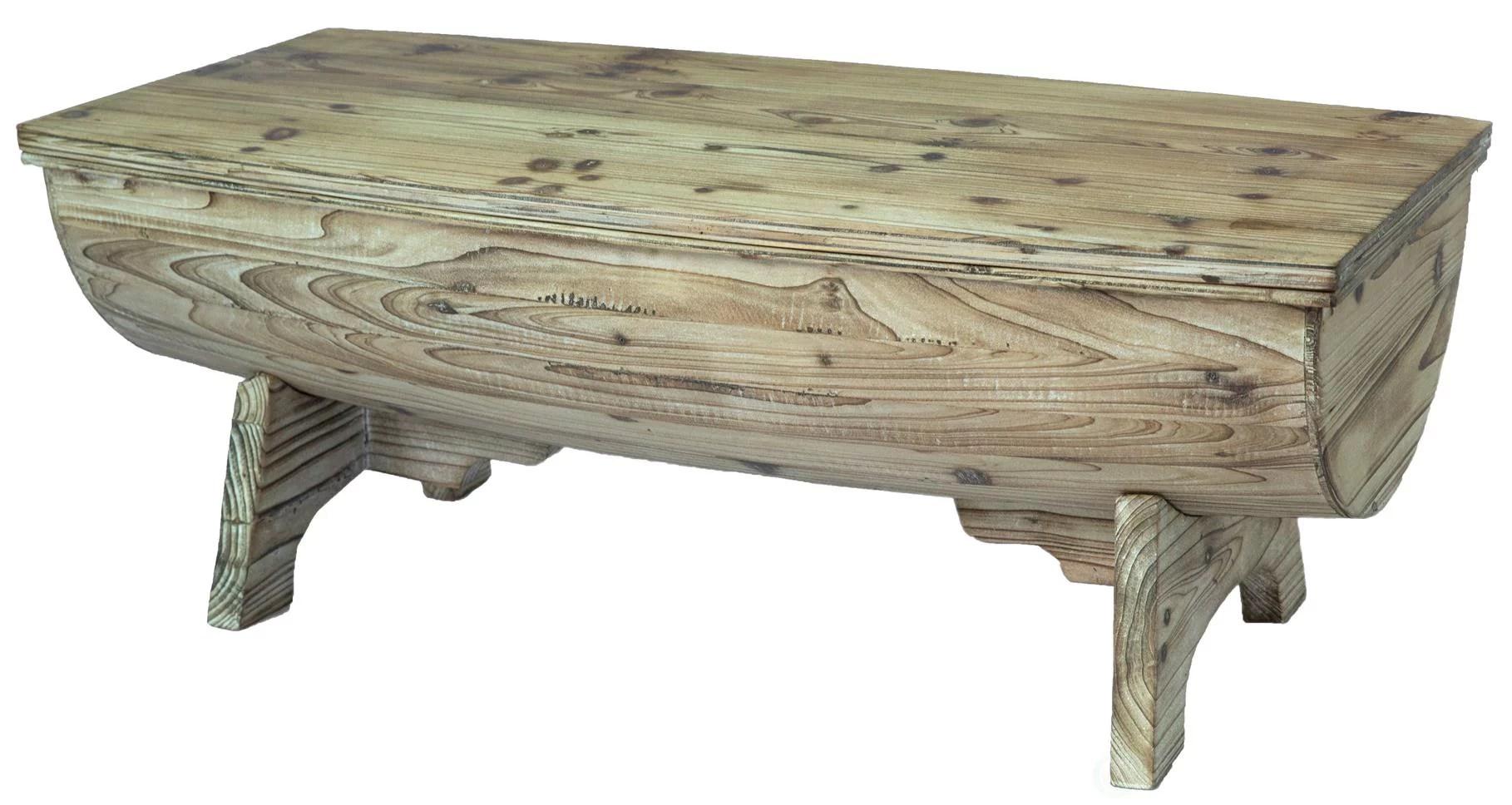 vintage wooden wine barrel coffee table with interior storage