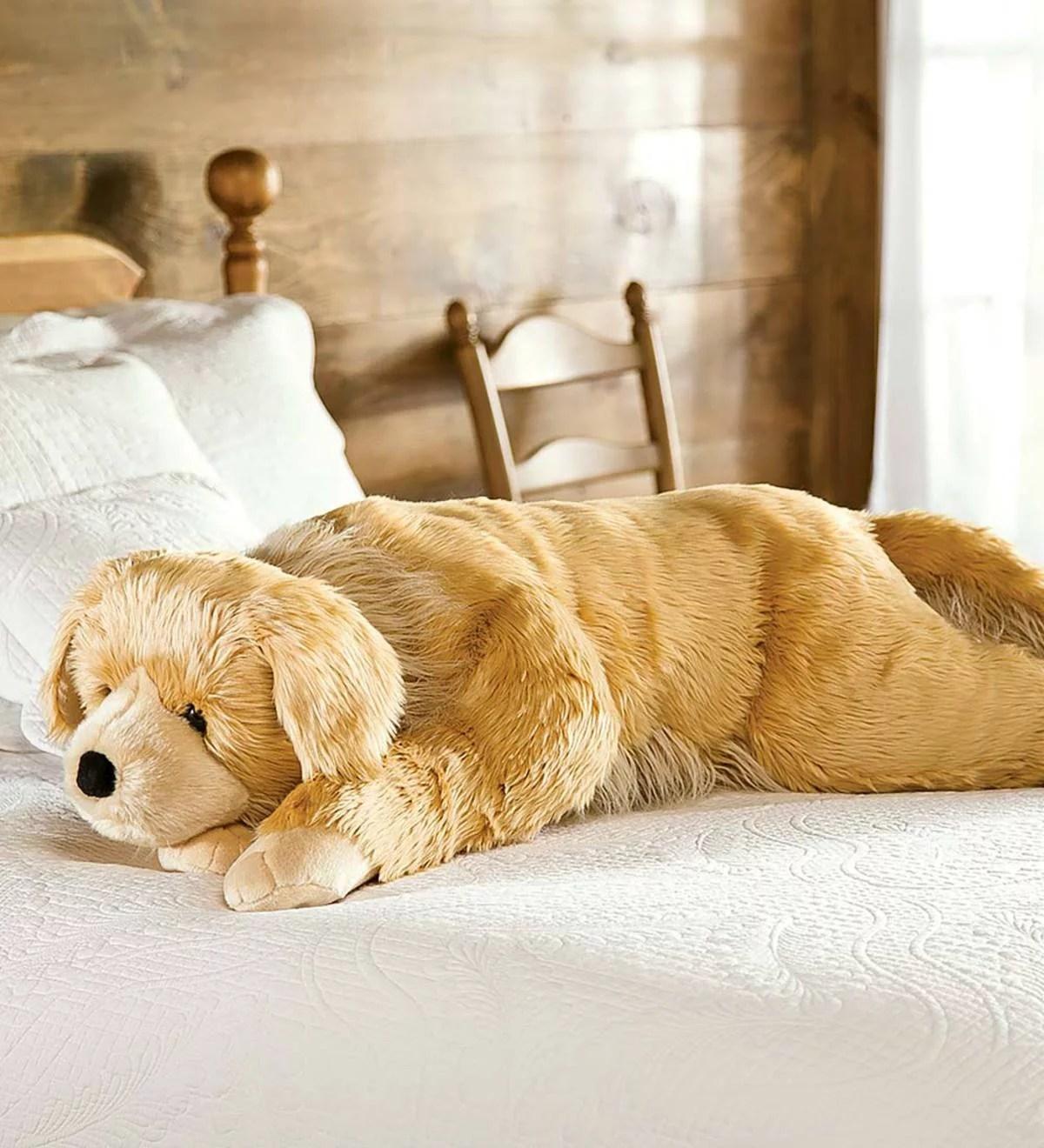 super soft body pillow with realistic features golden retriever dog walmart com walmart com