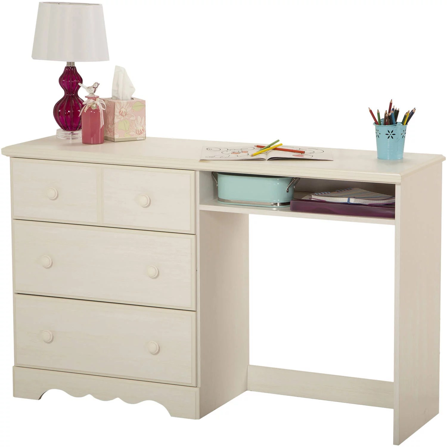south shore summer breeze kids writing desk with storage white wash