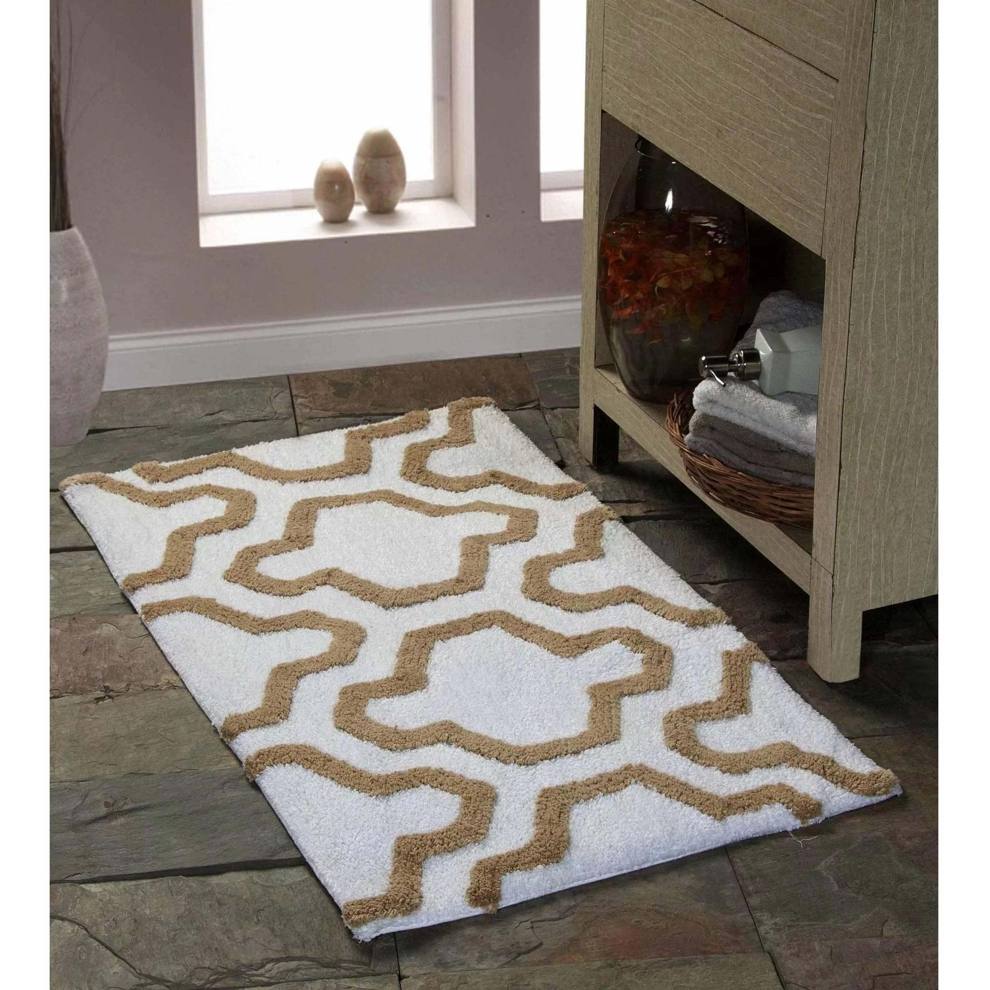 saffron fabs bath rug 2 piece set geomatric quatrefoil on farmhouse colors for bath mats walmart id=83581