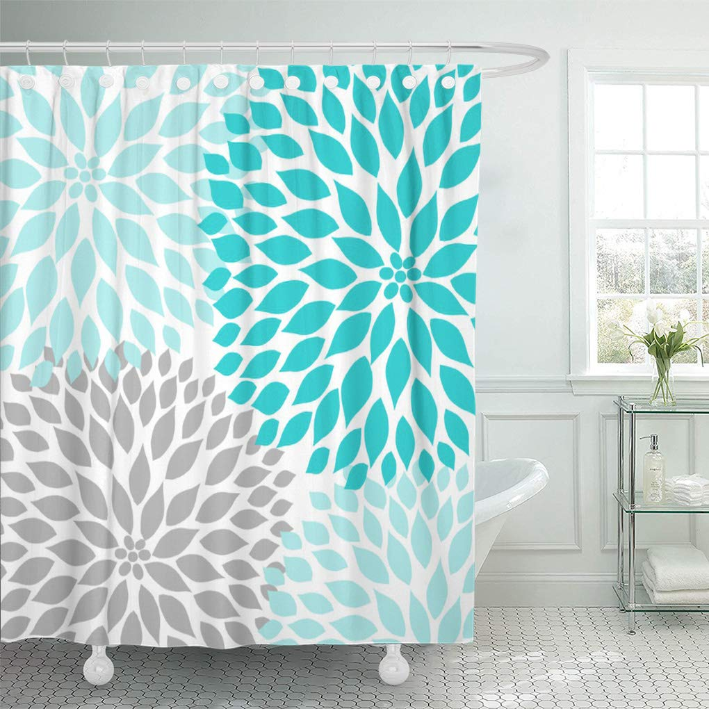 cynlon teal white turquoise blue gray dahlia mod baby grey bathroom decor bath shower curtain 60x72 inch