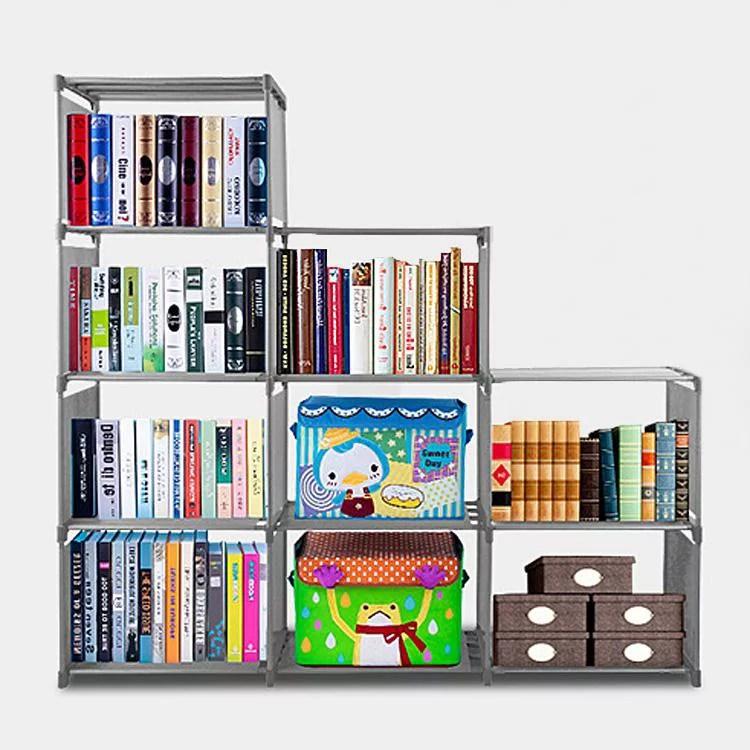 adjustable bookcase storage bookshelf with 9 book shelves