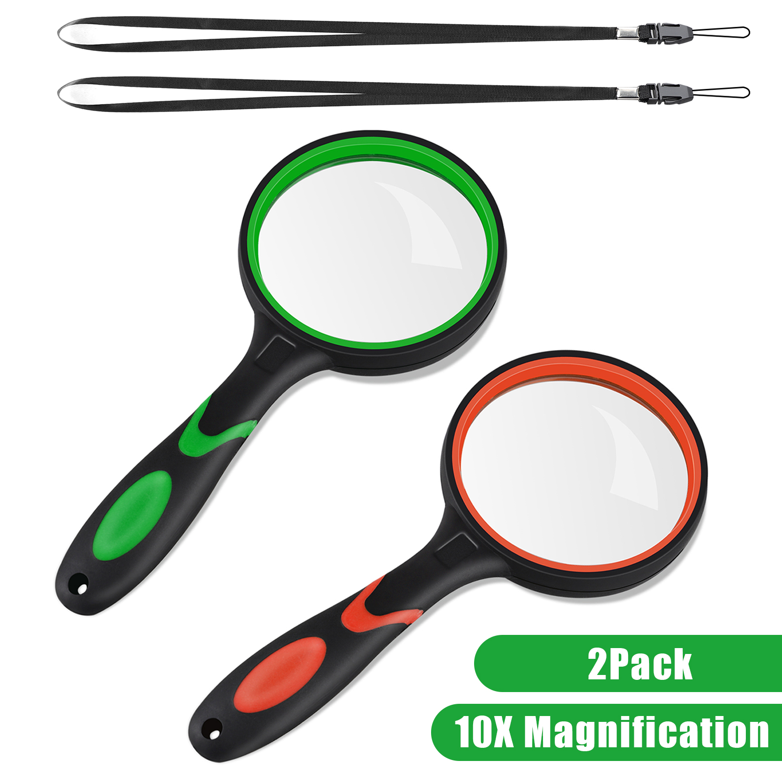 10x Magnifying Glass Handheld Reading Magnifier 75mm