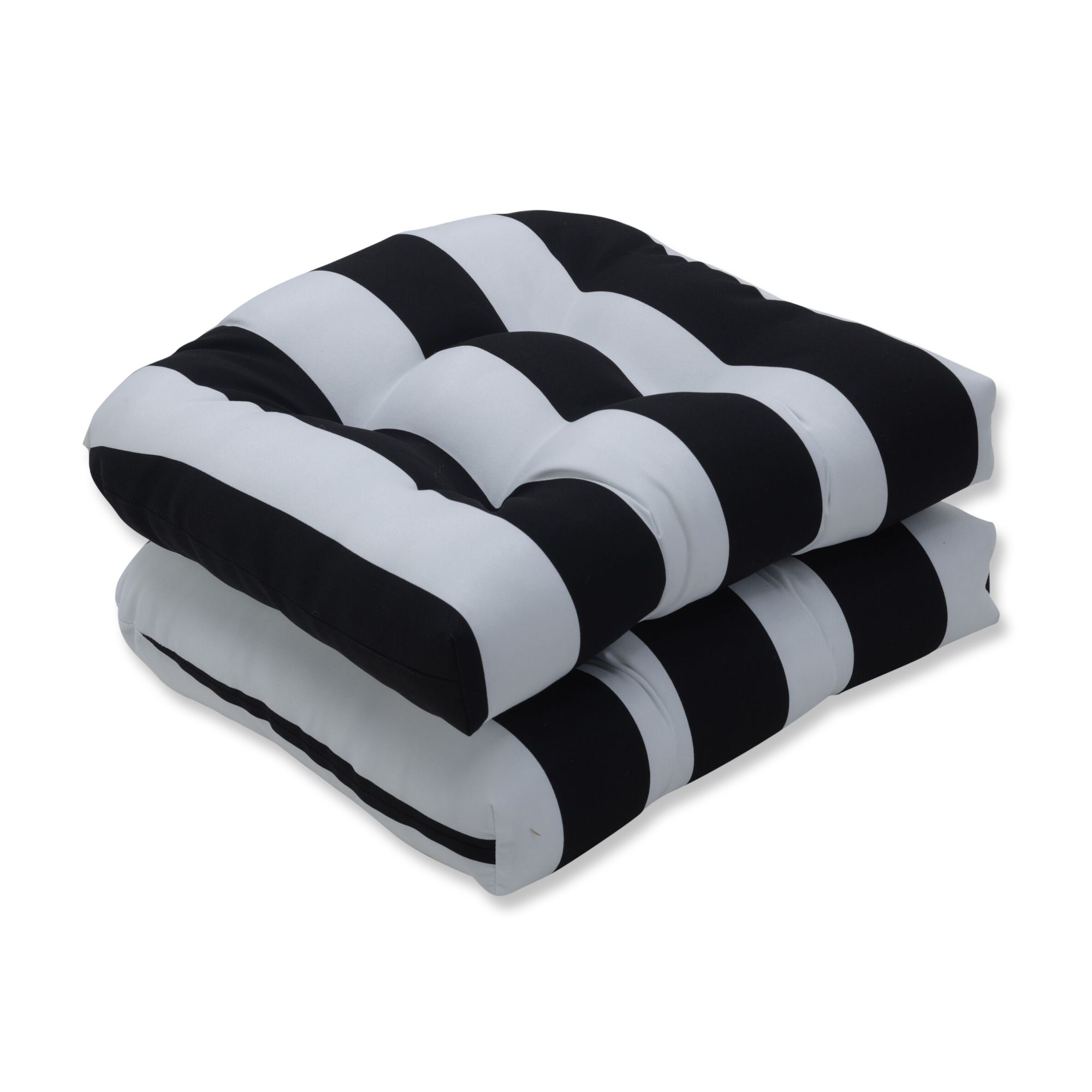 set of 2 black and white striped uv resistant outdoor on Black And White Striped Outdoor Seat Cushions id=13644