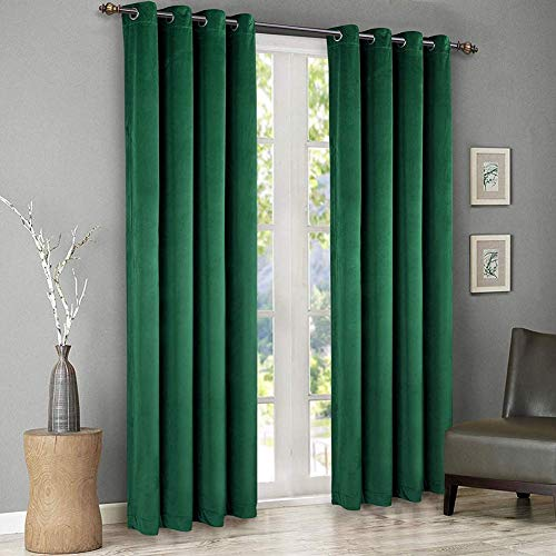 singinglory green velvet curtains 52 x 96 inch blackout thermal insulated grommet window curtain 2 panels set for bedroom and living room w52 xl96