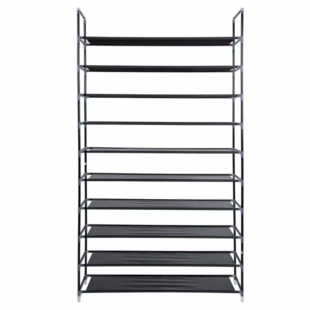fortressmount 10 tier easy to assemble shoe rack non woven fabric and steel black