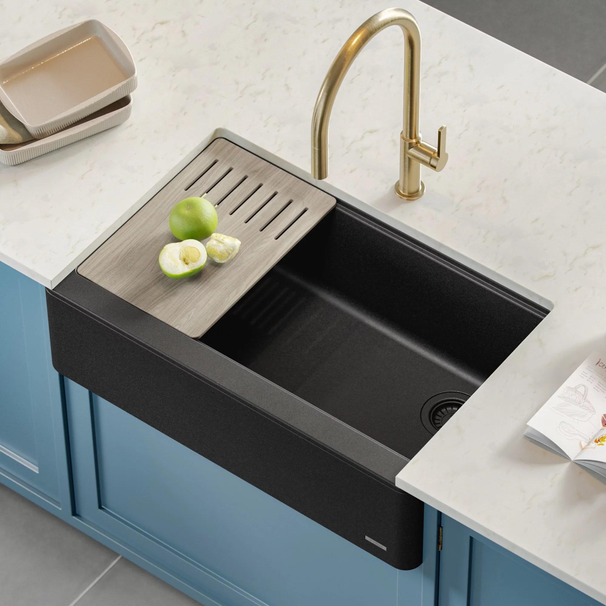 kraus bellucci workstation 33 quartz composite single bowl farmhouse kitchen sink in metallic black walmart com