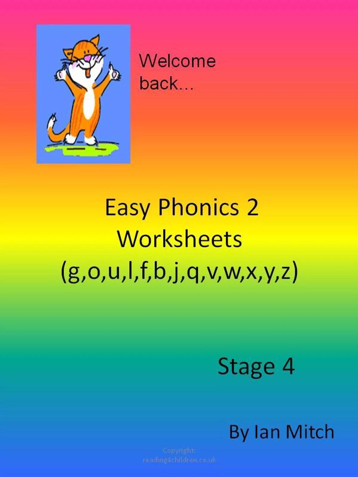 Easy Phonics 2 Worksheets G O U L F B J Q V W X Y Z