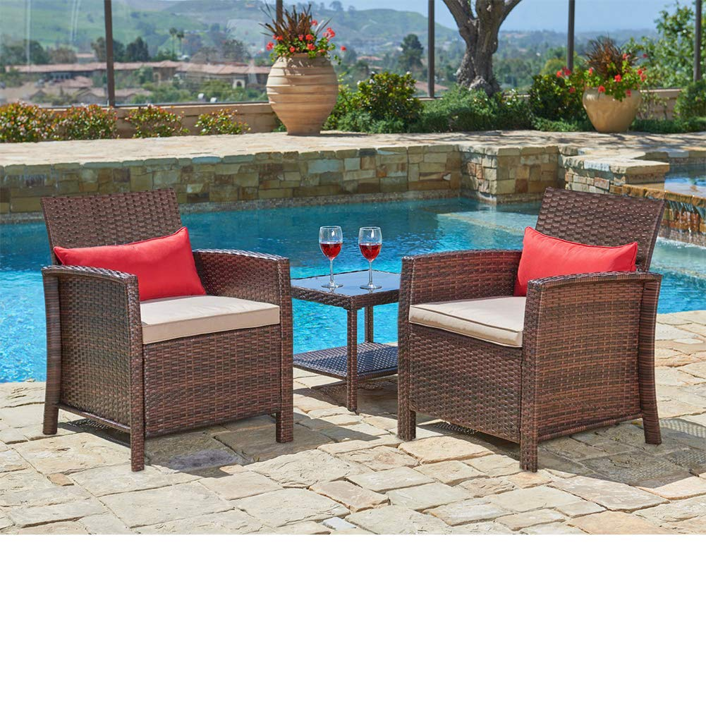 suncrown outdoor furniture 3 piece patio bistro sets wicker chairs with glass top table set thick durable cushions with washable covers