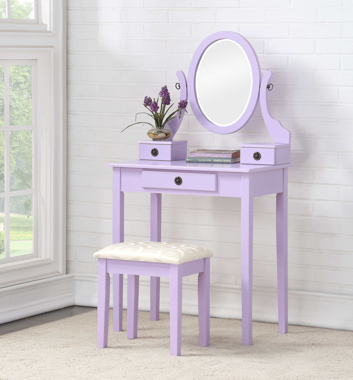 roundhill moniya wood makeup vanity table and stool set purple walmart com