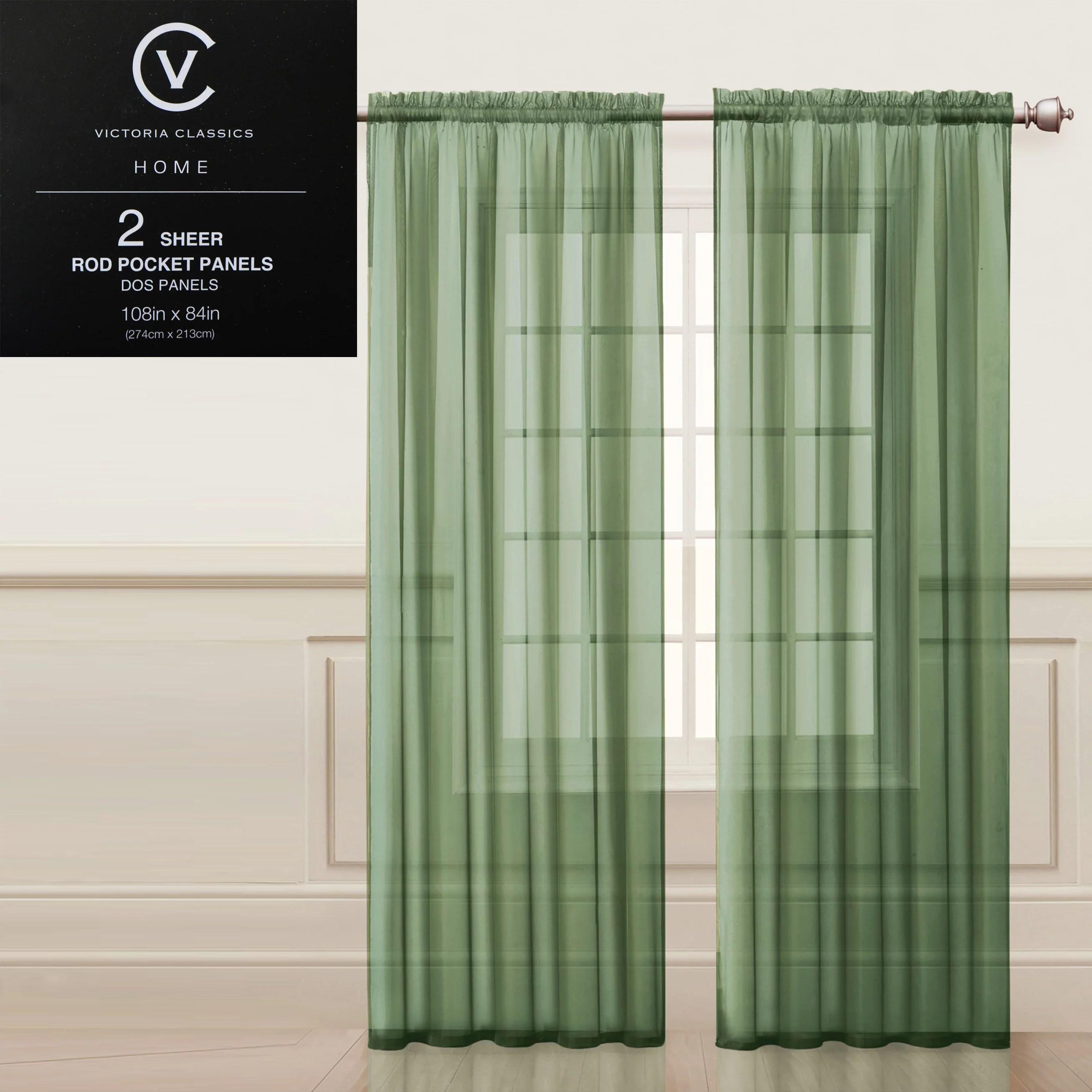 two 2 sage green sheer rod pocket window curtain panels 108 w x 84 l fully hemmed