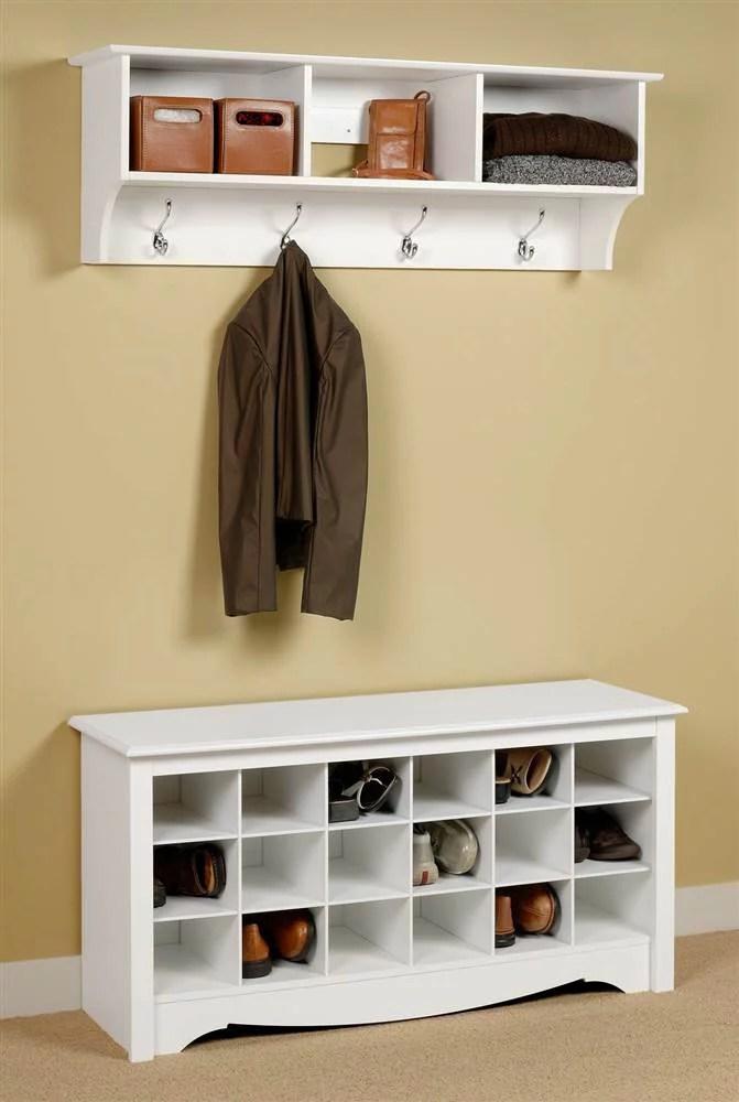 entryway wall mount coat rack w shoe storage bench in white