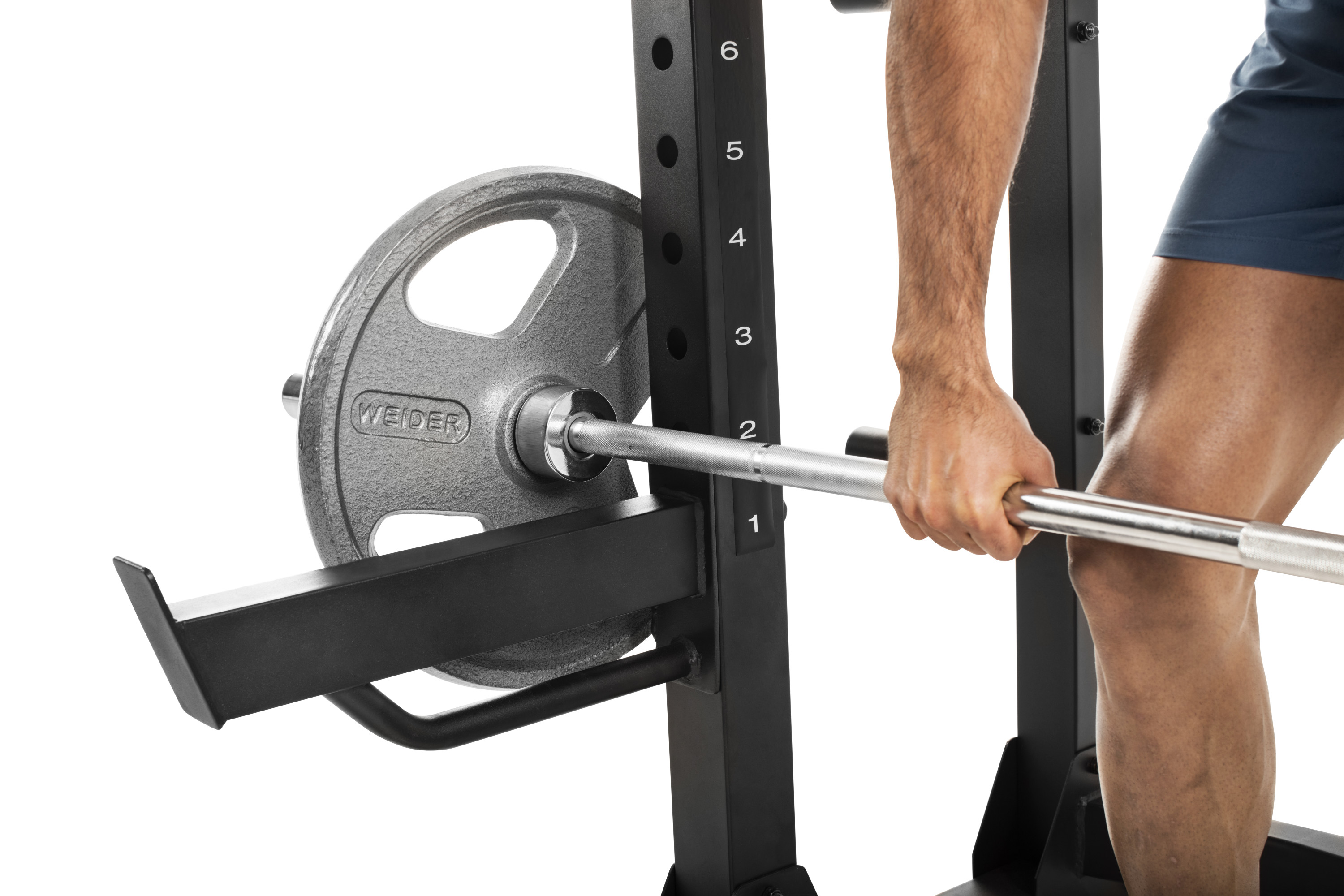 weider pro 7500 power rack with integrated weight storage