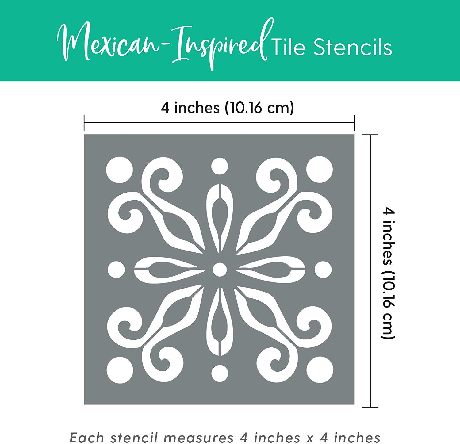 makely mexican tile stencil set pack of four 4x4 tile stencil designs for painting wall or floor tile stencil designs for making mosaic tile