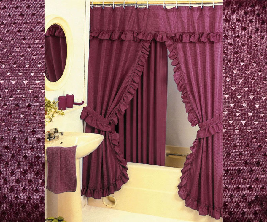diamond pattern fabric double swag shower curtain set tieback hooks burgundy red walmart com