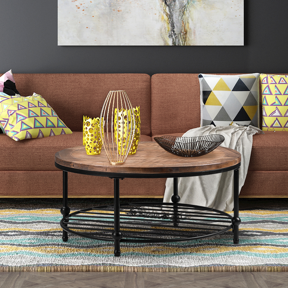 rustic coffee table with metal storage shelf for living room easy assembly round walmart com