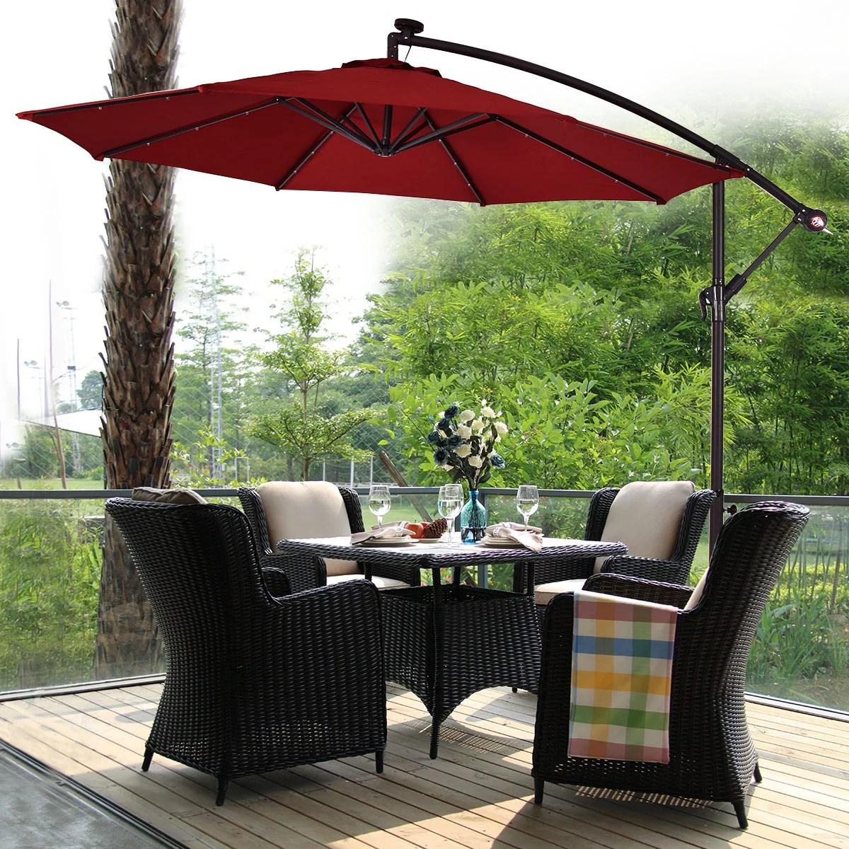 costway 10 hanging solar led umbrella patio sun shade offset market w base burgundy