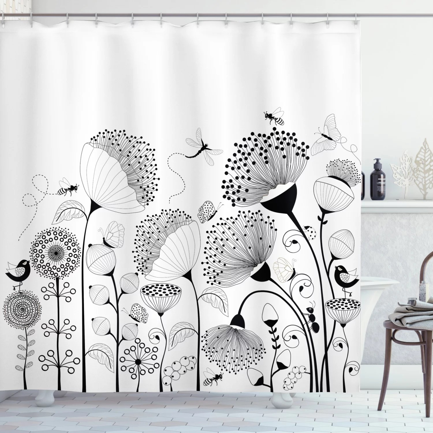 black and white shower curtain small large blooming flowers with butterflies and bees creatures nature fabric bathroom set with hooks black white