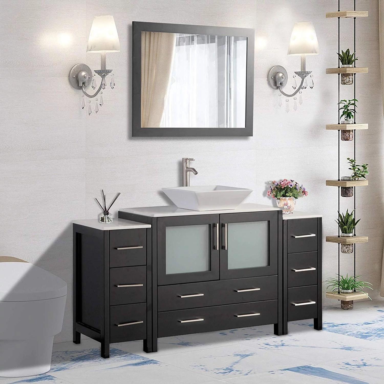 vanity art 60 inch single sink bathroom vanity set with ceramic vanity top