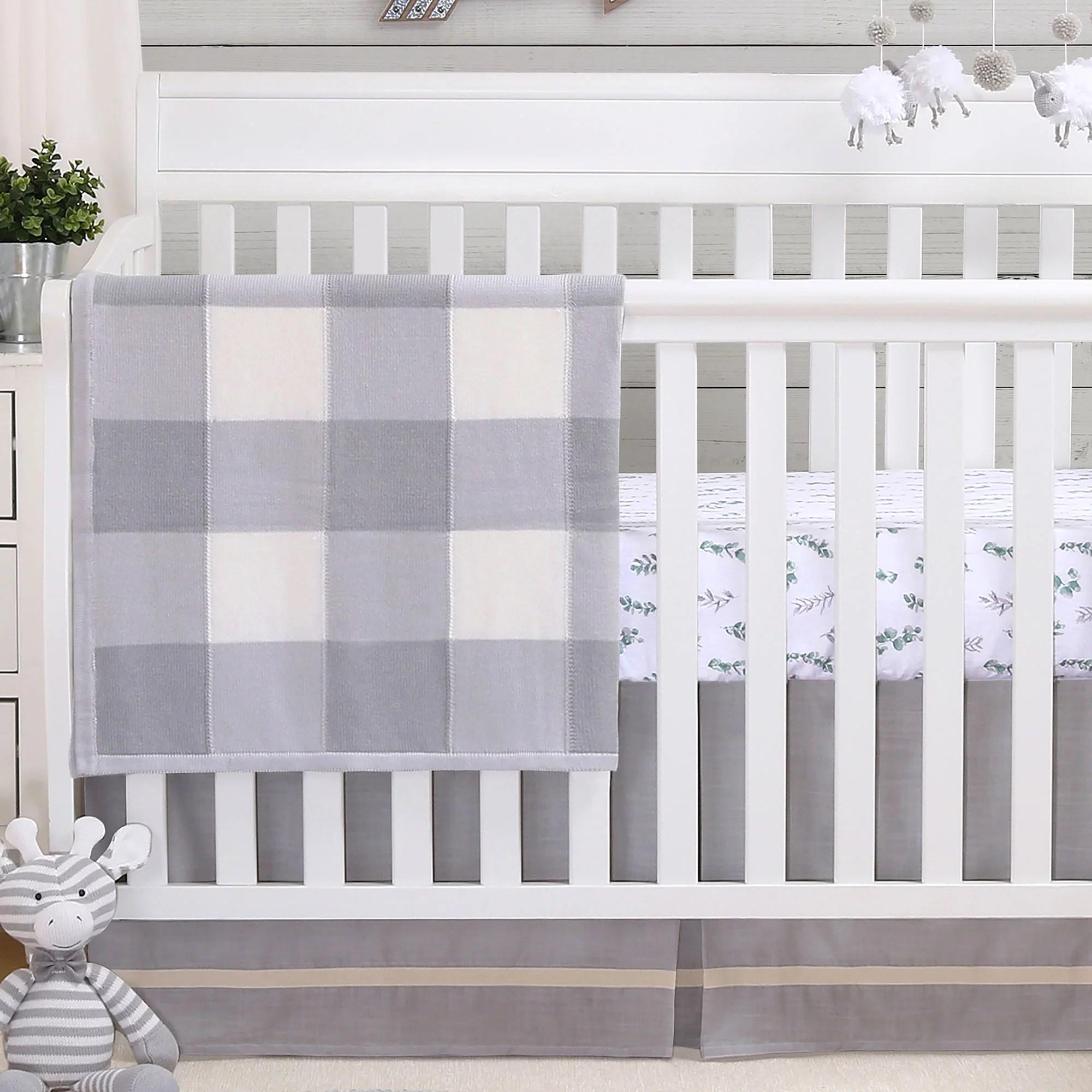 farmhouse grey 4 piece baby crib bedding set rustic country theme 100 cotton