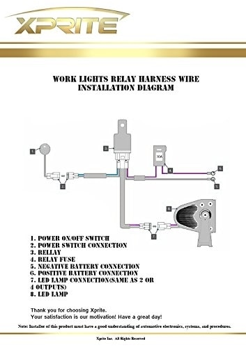 xprite heavy duty led light bar wiring harness with 1 leg  40 amp relay  with pilot toggle on off switch